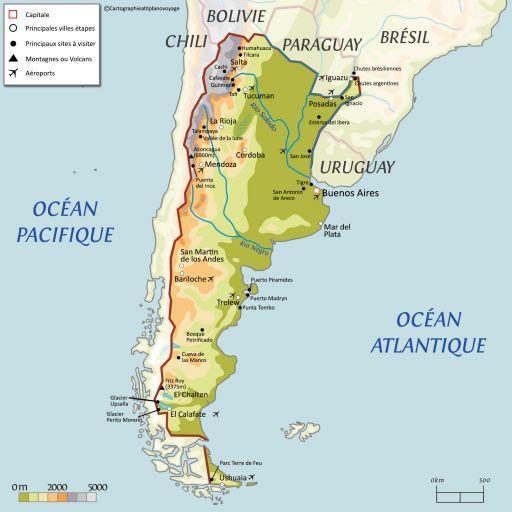 Carte touristique Argentine