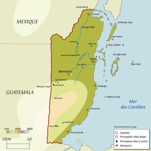 Carte touristique Belize