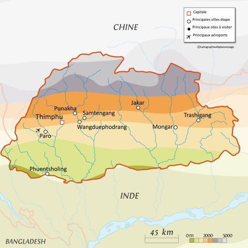 Carte touristique Bhoutan