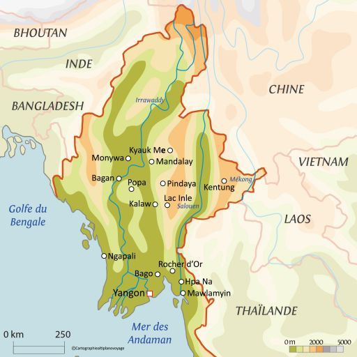Carte touristique Birmanie