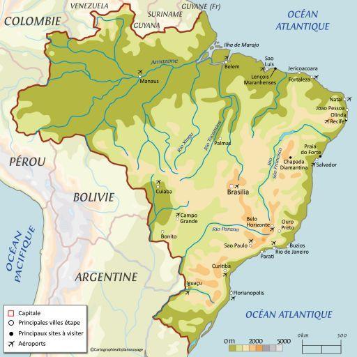 Carte touristique Brésil