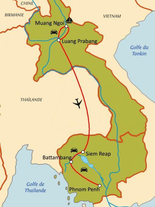 Carte du circuit Les Joyaux du Mékong : Laos - Cambodge