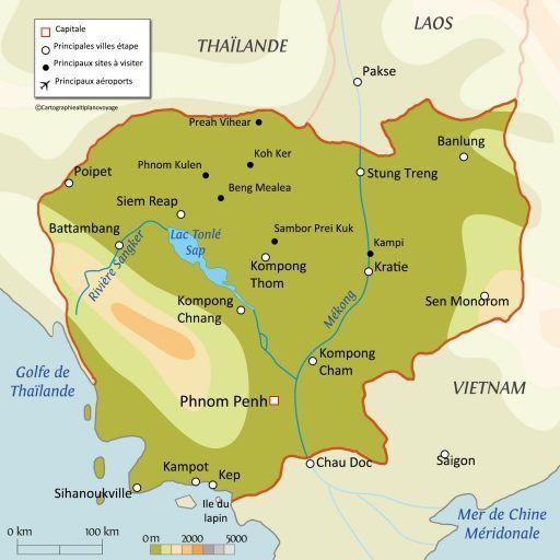 Carte touristique Cambodge