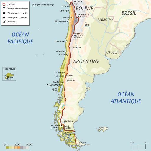 Carte touristique Chili