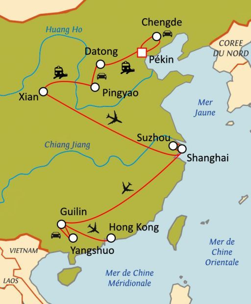 Carte du circuit Trésors de Chine