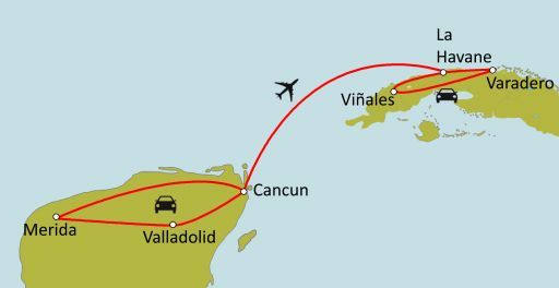 Carte du circuit Du Mexique à Cuba