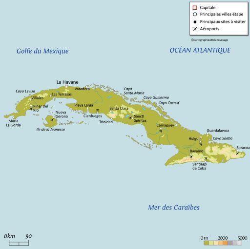 Carte touristique Cuba