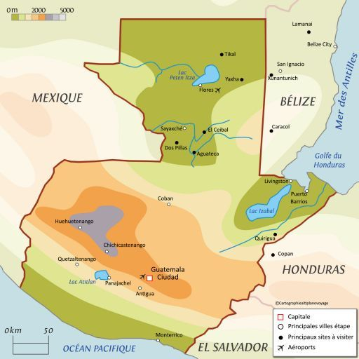 Carte touristique Guatemala