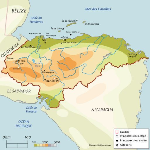 Carte touristique Honduras