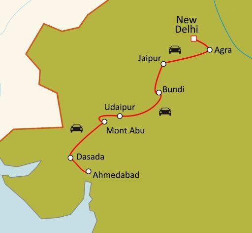 Carte du circuit Du Rajasthan au Gujarat