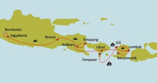 Carte du circuit Lune de miel confidentielle : Java, Bali, Lombok