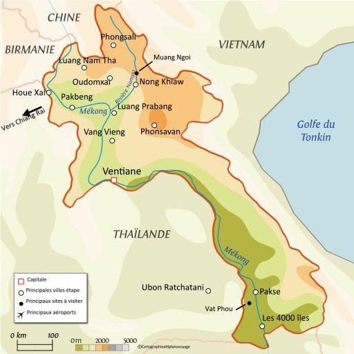 Carte touristique Laos