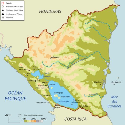 Carte touristique Nicaragua