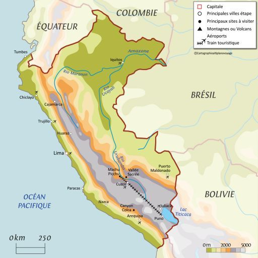 Carte touristique Pérou