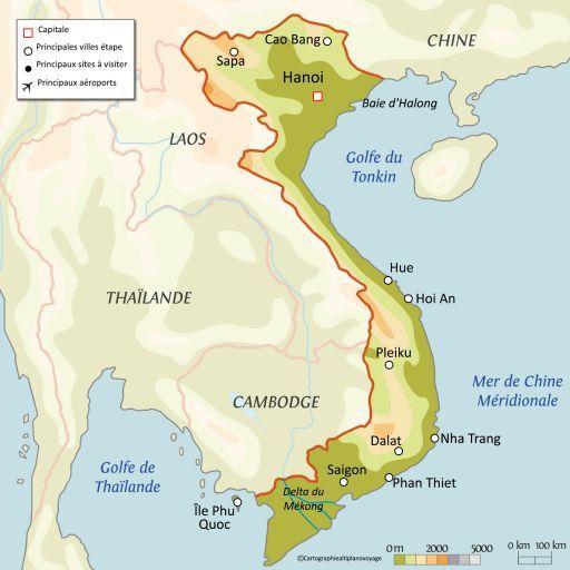 Carte touristique Vietnam